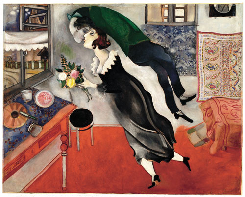 Marc Chagall, The Birthday, 1915. Oil on cardboard. New York, Museum of Modern Art. Acquired through the Lillie P. Bliss, 1949 © The Museum of Modern Art, New York. ® SABAM, Belgium 2015. Photograph: Scala, Firenze