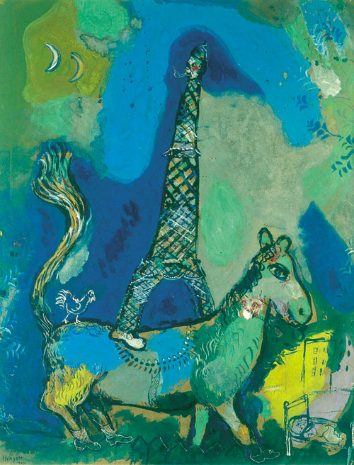 Marc Chagall. The Eiffel Tower, 1927. Watercolour, gouache and oil on paper. Brussels, Royal Museums of Fine Arts of Belgium © RMFAB Brussels/Chagall ® SABAM Belgium 2015. Photograph: Photo d'art Speltdoorn & Fils.