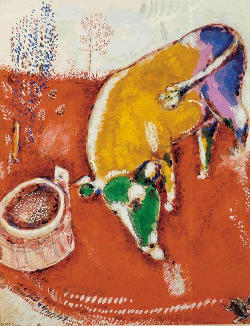 Marc Chagall. The Frog and the Ox, 1927. Gouache on paper. Brussels, Royal Museums of Fine Arts of Belgium © RMFAB, Brussels/Chagall ® SABAM Belgium 2015. Photograph: Guy Cussac.