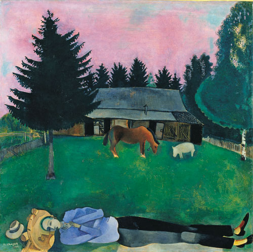 Marc Chagall. The Poet Reclining, 1915. Oil on cardboard. Tate, purchased in 1942, © Tate/Chagall ® SABAM Belgium 2015.
