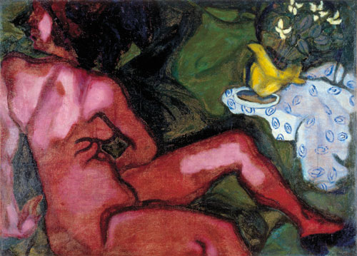 .Marc Chagall. Red Nude, 1909. Oil on canvas. Private collection © Chagall ® SABAM Belgium 2015