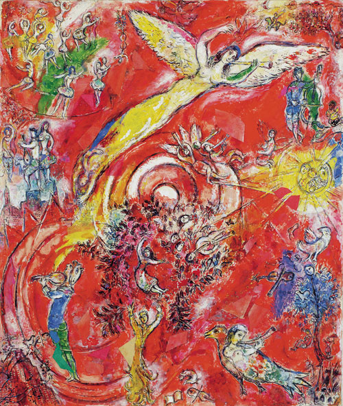 Marc Chagall. The Triumph of Music. Preparatory drawing for the Metropolitan Opera Mural, Lincoln Art Centre, New York, 1966. Tempera, gouache and collage on paper. Private collection © Chagall ® SABAM Belgium 2015.