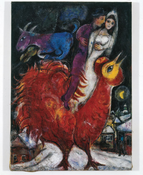 Marc Chagall. The Bride and Groom on Cock, 1939-47. Oil on canvas, 45 5/8 x 35 7/8 in. Collection of Dr. Hubert Burda, Munich. © 2013 Artists Rights Society (ARS), New York / ADAGP, Paris.