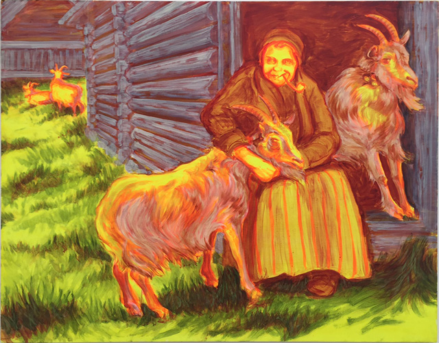 Sigrid Holmwood. Old Woman Hugging A Goat, 2008. Fluorescent lemon yellow, fluorescent flame red, lead white, cochineal, ultramarine, green earth, Spanish red ochre in egg tempera and oils on board, 122 x 153 cm. Photograph: Martin Kennedy.