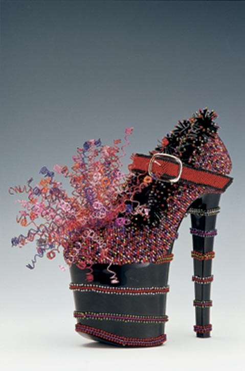 Paula Rasmus Dede, <em>Not Your Mama's Mary Janes</em>, 2003. Glass beads, aluminum, wire, commercially manufactured shoes covered in patent leather 19 7/8 x 7 7/8 x 10 5/8 in. each. Collection of Anchorage Museum of History and Art