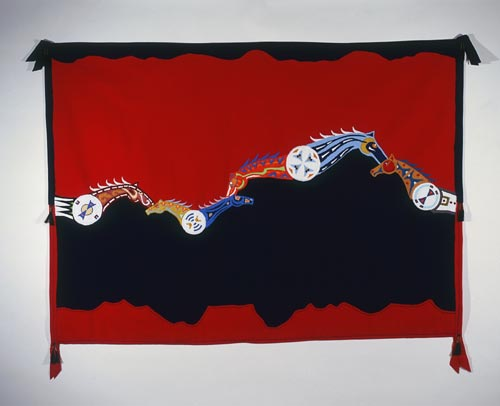 Molly Murphy, <em>Six Horses Courting Blanket</em>, 2005. Commercial woven wool, glass beads, horsehair, store-bought trim, brass cones 50 x 80 x 1 inches. Collection of the artist. Photo: Chris Autio