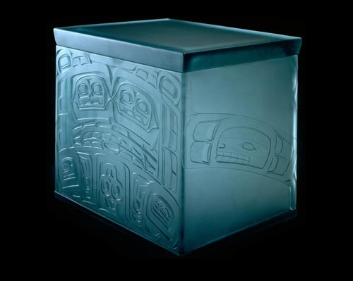 "Preston Singletary, <em>Bentwood Chest</em>, 2004. Fused and sand-carved glass 18 x 14 ½ x 22 ½"". Collection of Daniel Greenberg and Susan Steinhauser. Photo: Spike Mafford"