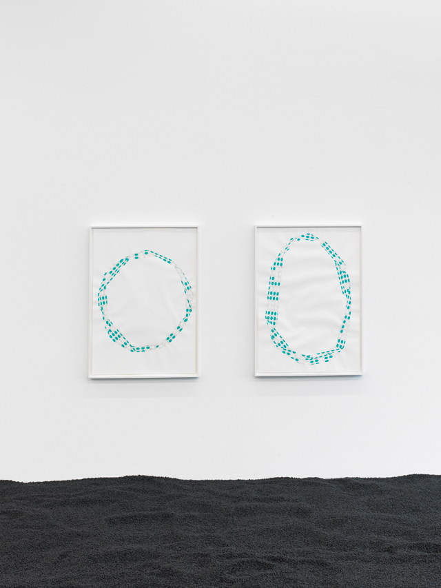 Alice Channer. Filters, 2016. 2 x framed silk cut cigarette ash; polyethylene microspheres and gouache in and on paper, H84 x W59.4 cm each. Installed at Konrad Fischer Galerie, Berlin, DE. Work courtesy: the artist and Konrad Fischer Galerie, DE. Image courtesy: Roman März.