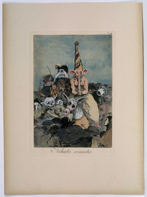 Jake and Dinos Chapman <strong><em>Like a dog returns to its vomit (No.24)</em></strong> 2005. Reworked and improved etching from Francisco de Goya's 'Los Caprichos'. 17 5/8 x 14 5/8 in. (44.8 x 37.2 cm) (incl. frame) © the artists. Courtesy Jay Jopling/White Cube (London). Photo: Gareth Winters