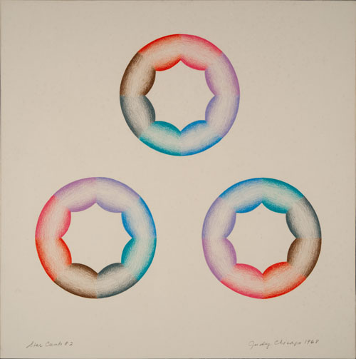 Judy Chicago. Star Cunts #2, 1968. Prismacolor on paper, 15.25 in. x 15.25 in (38.74 cm x 38.74 cm)