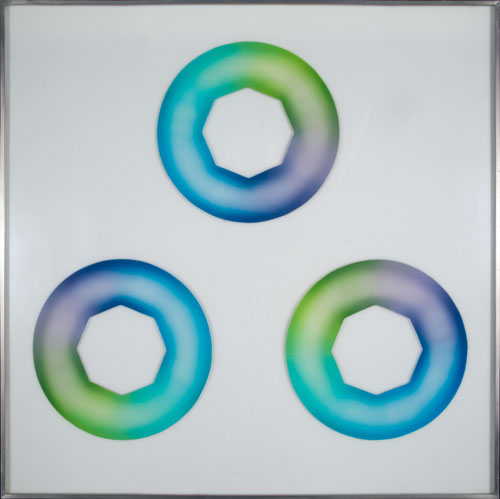 Judy Chicago. Green-Blue Starcunts, 1969. Sprayed acrylic lacquer on acrylic, 27.5 x 27.5 in.