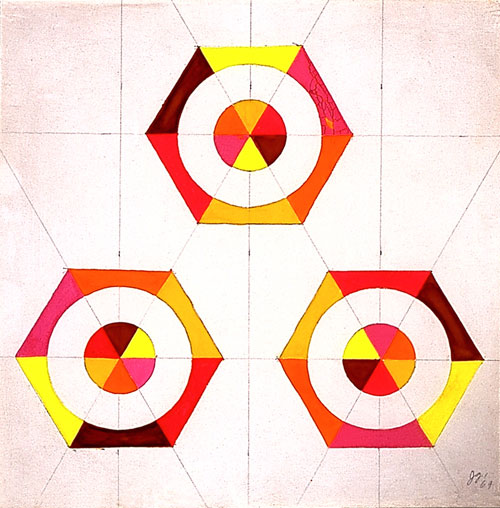 Judy Chicago. Optical Shapes #4, 1969. Acrylic on mat board, 11 x 11 in.