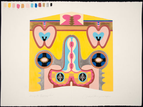 Judy Chicago. Study for Bigamy Hood, 2011. Acrylic on rag paper, 22 x 30 in.