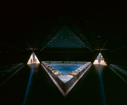 Judy Chicago. The Dinner Party. Installation overview at Brooklyn Museum.