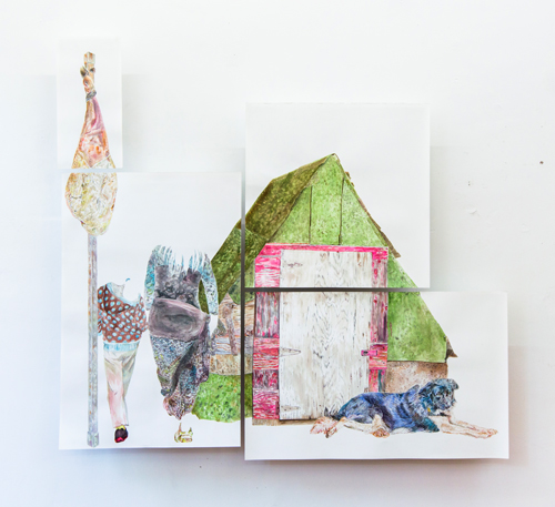 Fernanda Chieco. O cão, o presunto, a casinha, as passantes (The dog, the ham, the little house and the bystanders), Gone Series, 2014. Watercolour on paper in four parts, (ham) 49.5 x 20.5 cm, (house) 70 x 70 cm, (bystanders) 103.2 x 67.5 cm, (dog) 63.4 x 99.7 cm. Photograph: Pedro Victor Brandão.
