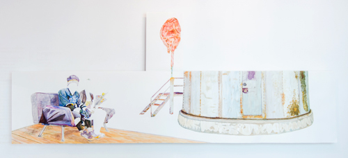 Fernanda Chieco. O peru, a torre, o rei, a rainha (The turkey, the tower, the king, the queen), Gone Series, 2014. Watercolour on paper in two parts, (turkey) 36.7 x 58 cm, (king and queen) 318 x 70.5 cm. Photograph: Pedro Victor Brandão.