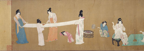 Possibly Emperor Huizong. Court Ladies Preparing Newly Woven Silk (detail), early 12th century. Photograph © 2013 Museum of Fine Arts, Boston.