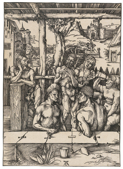 Albrecht Dürer. The Bathhouse, c1496-97. Woodcut on laid paper with an Imperial Orb watermark. Block and sheet: 39 x 28.1 cm.
