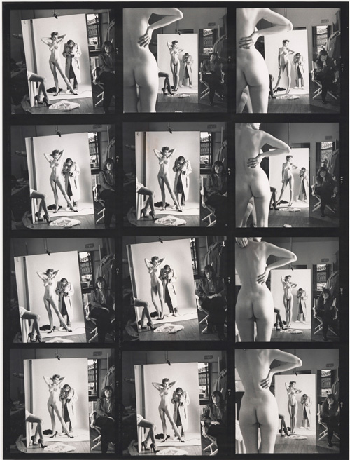 Helmut Newton. Self-Portrait with Wife and Models, Paris, Vogue Hommes, 1981. Gelatin silver contact sheet enlargement, 64 x 49 in (163 x 125cm). Private collection