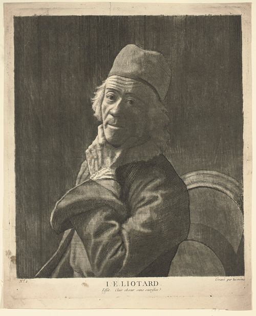 Jean-Étienne Liotard. The large Self-Portrait, c1780. Mezzotint with engraving and roulette on laid paper, plate: 48 x 38.5 cm; sheet: 50.3 x 41 cm. Fondation Custodia, Paris.