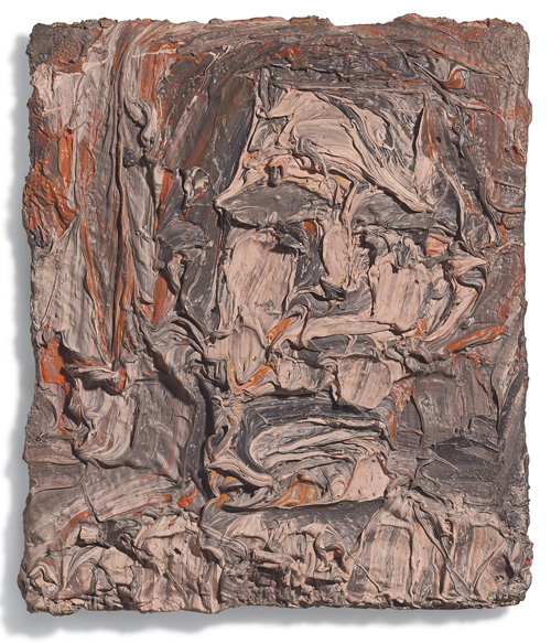 Leon Kossoff. Head of a Young Man, 1964. Oil on board, 11 x 9 1/2 in (28 x 24.2 cm). Private collection.