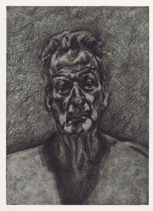 Lucian Freud. Self-Portrait: Reflection, 1996. Etching on wove paper, plate: 59.5 x 43 cm; sheet: 88.3 x 70.4 cm. Private collection