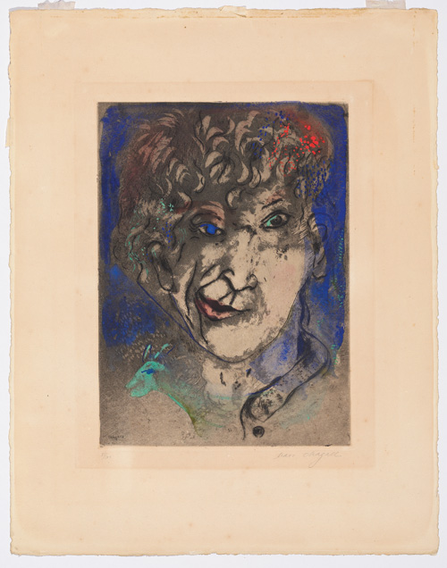Marc Chagall. Self-Portrait with Grimace, 1925. Etching and aquatint with gouache and wash on wove paper, plate: 37.5 x 27.5 cm; sheet: 57.5 x 45 cm.
