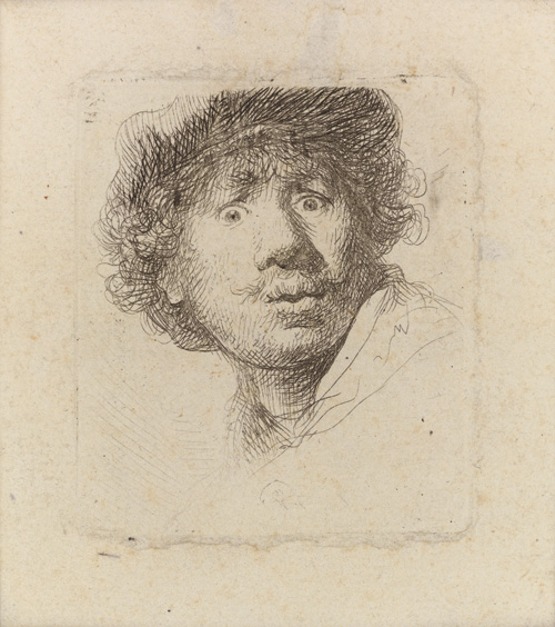 Rembrandt Harmensz. van Rijn. Self-Portrait in a cap, wide-eyed and open-mouthed, 1630. Etching on laid paper without watermark, plate: 51 x 45 mm; sheet: 80 x 71 mm. Neil Kaplan collection.