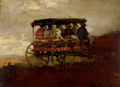 Winslow Homer (American, 1836-1910), <em>White Mountain Wagon</em>. U.S.A., 1869. Brush and oil paint on wood panel. Gift of Mrs. Charles Savage Homer, Jr., 1918-20-9. Photo: Matt Flynn