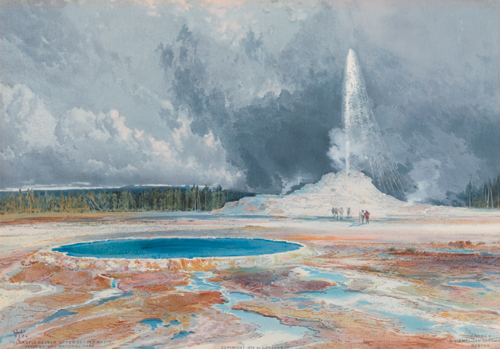 After Thomas Moran (American, 1837-1926),<em> Castle Geyser, Upper Geyser Basin, Yellowstone</em>. U.S.A., published 1874. Chromolithograph on white wove paper. Museum purchase through gift of Louis R. Ehrich, 1941-9-1. Photo: Matt Flynn
