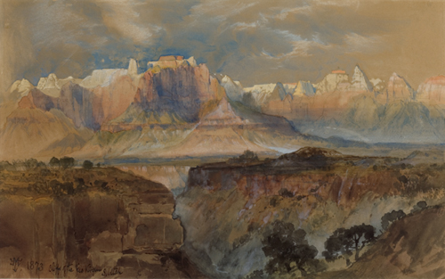 Thomas Moran (American, 1837-1926), <em>Cliffs of the Rio Virgin, South Utah</em>. U.S.A., 1873. Brush and watercolor, white gouache on light-brown wove paper. Gift of Thomas Moran, 1917-17-20. Photo: Matt Flynn