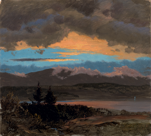 Frederic Edwin Church (American, 1826-1900), <em>Sunset across the Hudson Valley, New York</em>. U.S.A., 1870. Brush and oil paint, graphite on thin cream color paperboard. Gift of Louis P. Church, 1917-4-582-c. Photo: Matt Flynn
