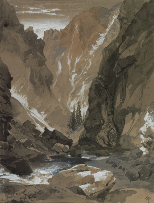 Thomas Moran (American, 1837-1926), <em>Toltec Gorge, Colorado</em>. U.S.A., 1881. Brush and black, brown and blue ink washes, white gouache, graphite on tan wove paper. Gift of Thomas Moran, 1917-17-68. Photo: Matt Flynn