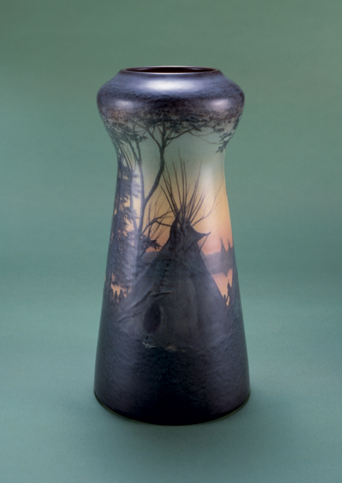 Edward Timothy Hurley (American, 1869-1950) for Rookwood Pottery (founded 1880) 'Indian Encampment' vase. U.S.A., 1909. Glazed stoneware. Gift of Marcia and William Goodman, 1984-84-1