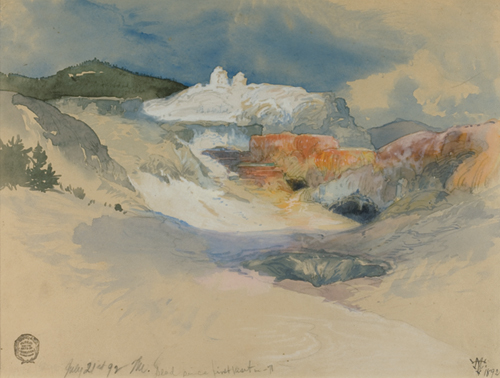 Thomas Moran (American, 1837-1926), <em>Chama Below the Summit</em>. U.S.A., 1892. Brush and grey wash, watercolor, graphite on off-white wove paper. Gift of Thomas Moran, 1917-17-70. Photo: Matt Flynn