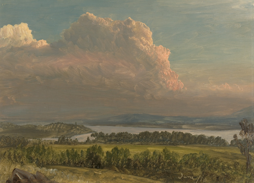 Frederic Edwin Church (American, 1826–1900), <em>Sunset across the Hudson Valley, New York</em>. U.S.A., 1870. Brush and oil paint, graphite on thin cream color paperboard. Gift of Louis P. Church, 1917-4-582-a. Photo: Matt Flynn