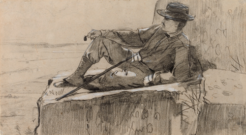 Winslow Homer (American, 1836–1910), <em>Study for Mountain Climber Resting</em>. U.S.A., 1868–69. Black and white crayon on brown laid paper. Gift of Charles Savage Homer, Jr., 1912-12-98. Photo: Matt Flynn