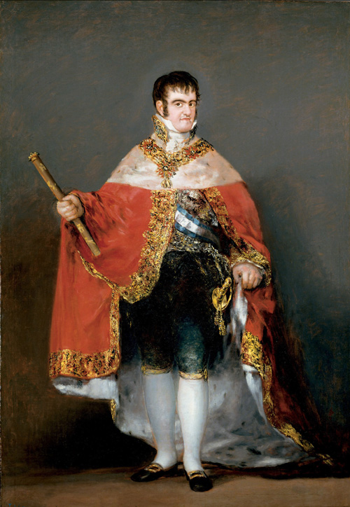Franciso de Goya y Lucientes. <em>Ferdinand VII in Royal Robes</em>, c.1815, Oil on canvas. 208 x 142.5 cm. Museo Nacional del Prado, Madrid, 735 Photo: All rights reserved © Museo Nacional del Prado, Madrid