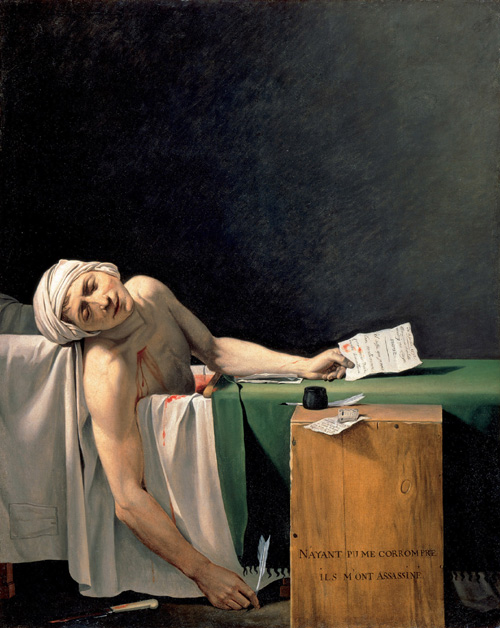 Jacques-Louis David. <em>The Death of Marat</em> (detail), c.1794. Oil on canvas, 162.5 x 130 cm. Mus&eacute;e du Louvre, D&eacute;partement des Peintures, legs du Baron Jeanin, descendant de l'artiste, 1945 Photo: &copy; RMN/Blot and Jean