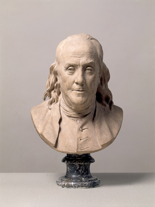 Jean-Antoine Houdon. <em>Benjamin Franklin</em>, 1778. Terracotta, 52.2 x 34.2 x 27.4 cm. Departement des Sculptures, Musee du Louvre, Paris, RF 349 Photo: &copy; RMN/Ojeda, Paris