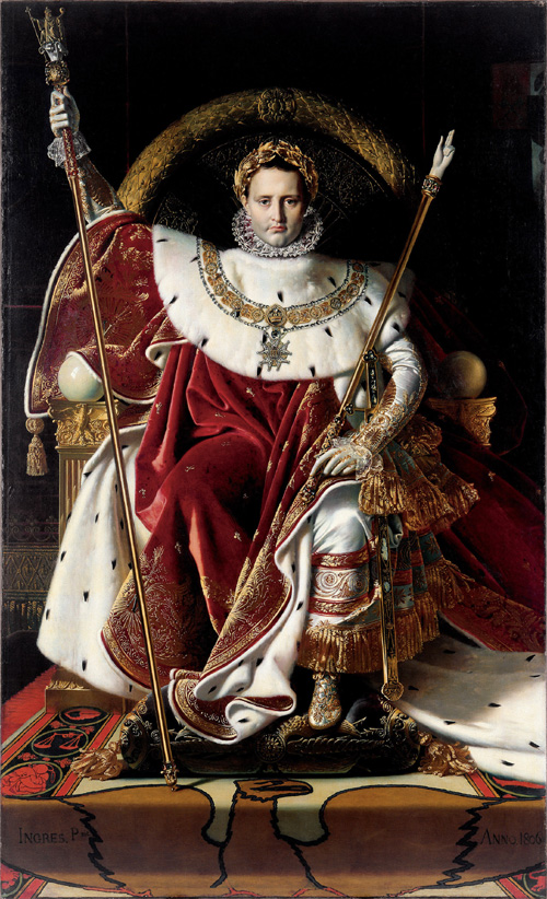 Jean-Auguste-Dominique Ingres. <em>Napoleon I on the Imperial Throne</em>, 1806. Oil on canvas, 260 x 163 cm. Musee de l Armee, Paris, 5420 Photo: &copy; Musee de l Armee, Dist. RMN/Segrette, Paris
