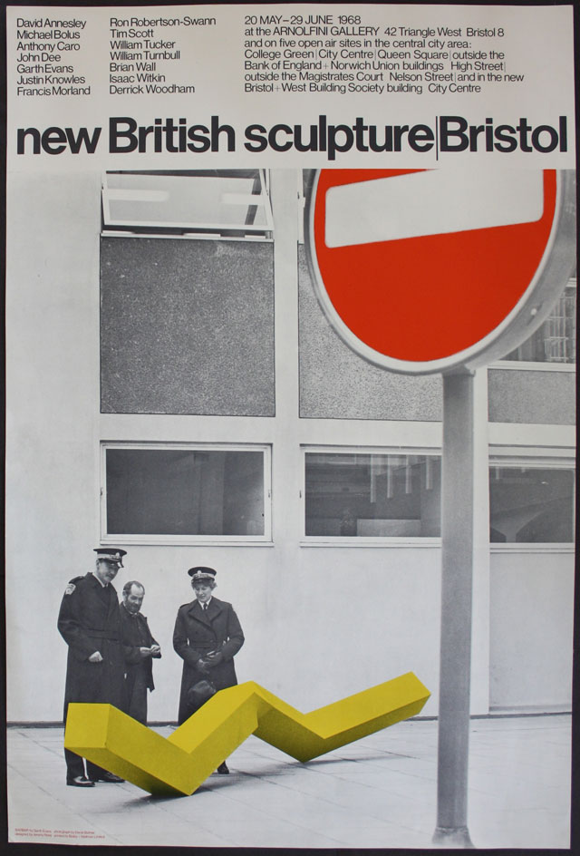 Exhibition poster for new British sculpture, Bristol, 1968. Photograph: Derek Balmer. Arnolfini Archive at Bristol Record Office.