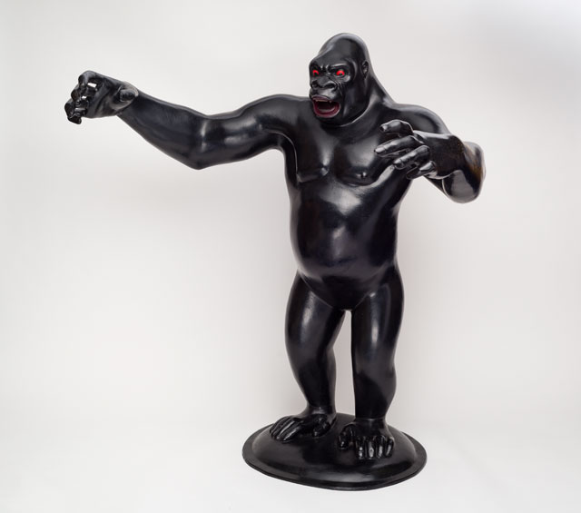 Nicholas Monro. Fibreglass maquette of King Kong with outstretched arms and red eyes, 1971. Courtesy the artist and Wolverhampton Arts and Museums.