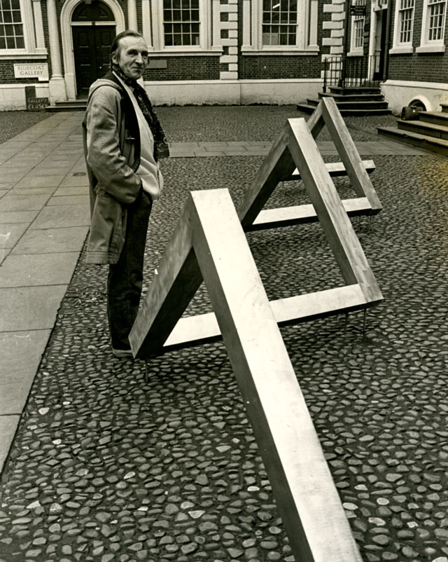 William Turnbull. Angle, 1972. Work for Bluecoat Chambers, Liverpool. Brushed stainless steel, six units, length: 8 x 8 metres. Arnolfini Archive at Bristol Record Office. Photographer unknown. © William Turnbull. All Rights Reserved, DACS 2016.