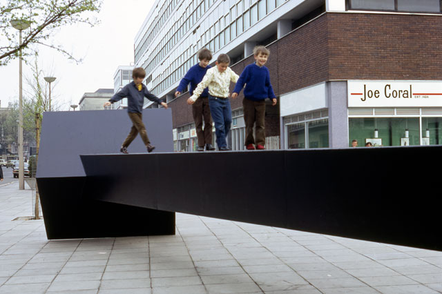 Garth Evans. Work for The Hayes, Cardiff. Painted mild steel, length: 12 metres. Arnolfini Archive at Bristol Record Office. Photographer unknown.