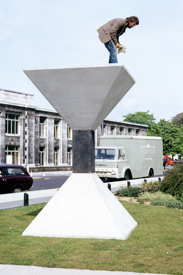 Peter Hide. Work for Guildhall Square, Southampton. Concrete, cast iron, height: 4 metres. Arnolfini Archive at Bristol Record Office. Photographer unknown.