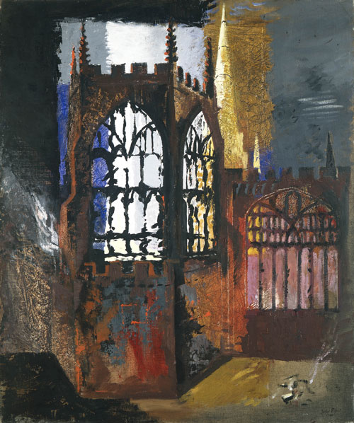 John Piper. Coventry Cathedral, 1940. © Crown Copyright, Manchester City Galleries.
