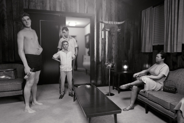 David Claerbout. KING (after Alfred Wertheimer's 1956 picture of a young man named Elvis Presley), 2015-16. Single channel video projection, HD animation, black & white, silent, 10 min. Edition of 7 with 1 AP and 1 AC. © David Claerbout. Courtesy of the artist and Sean Kelly.