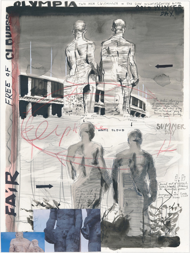 David Claerbout. Olympia Stadion (Cold winter day), 2014. Washed ink, collage and crayon on paper, 24 x 18 1/8 in (61 x 46 cm). © David Claerbout. Courtesy of the artist and Sean Kelly.