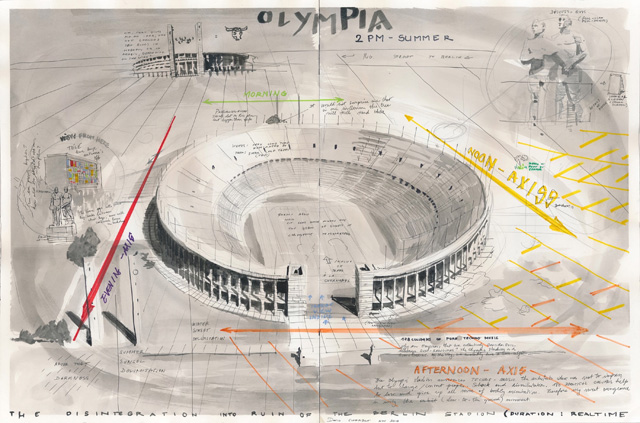 David Claerbout. Olympia Stadion (2PM Summer), 2014. Washed ink, felt pen and pencil on paper, 24 x 36 1/4 in (61 x 92 cm). © David Claerbout. Courtesy of the artist and Sean Kelly. © David Claerbout. Courtesy of the artist and Sean Kelly.